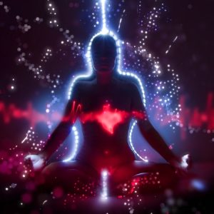 52033639 - silhouette of a woman in lotus meditation position with shining heart doing kundalini yoga, freezelight photo