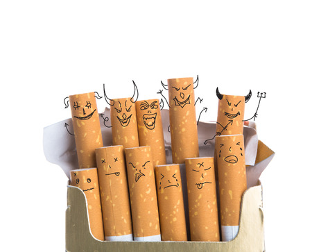 40399911 - box of cigarettes with devil face isolated on a white background